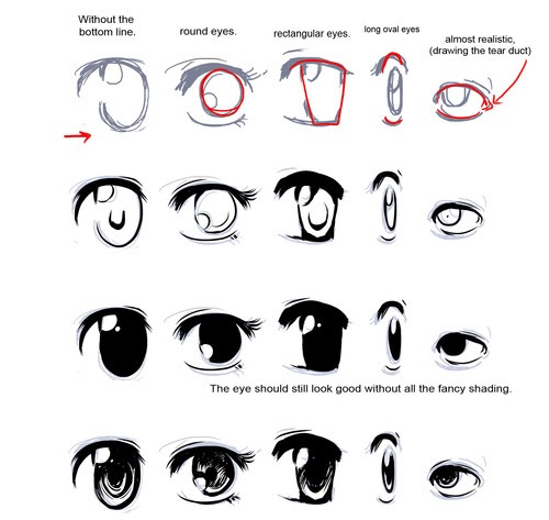 These are ways to draw her eyes.
