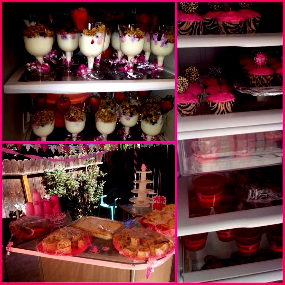 Vanilla yogurt parfaits,  cupcakes, pink cookies,