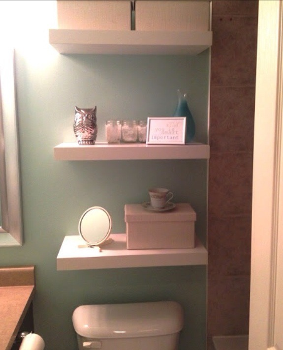 Floating shelves above your toilet.