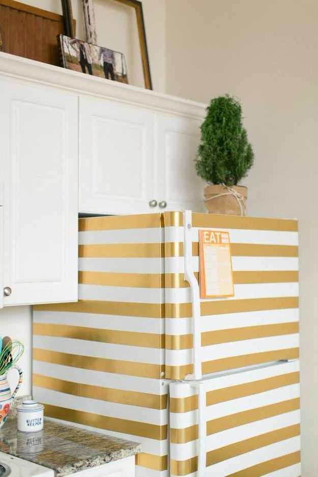 11. Decorate your fridge with washi tape or spray paint.