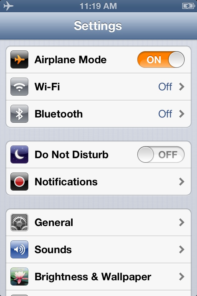 2) turn airplane mode on