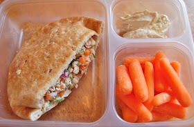 Tuna salad in a pocket thin, carrots, hummus