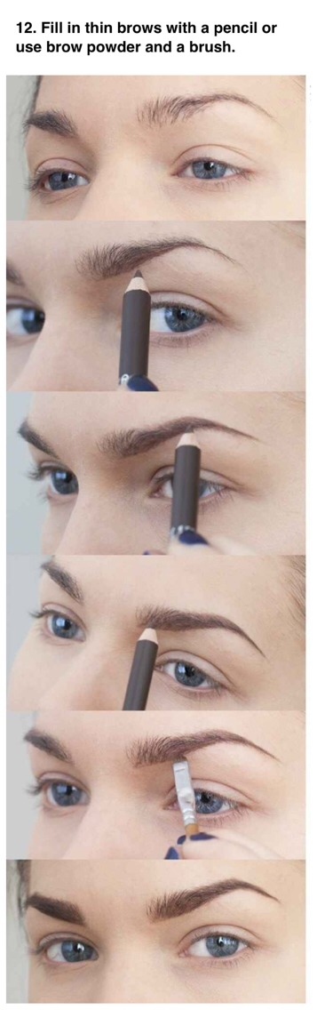 --> Use light, short strokes to mimic your natural eyebrow hairs. Make sure to start light. You can always add more if you need, but it's harder to remove brow product once it's already on the hairs.
