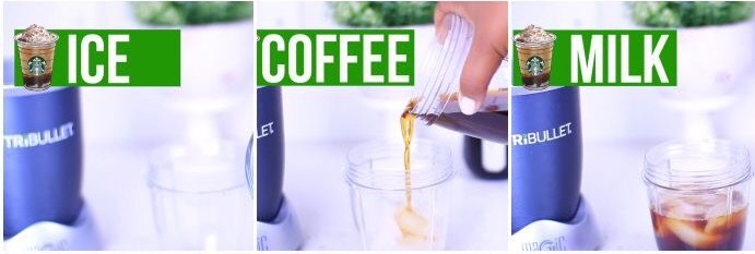 For the drink blend 1/2 cup ice, 1 cup coffee, and 1/2 cup milk
