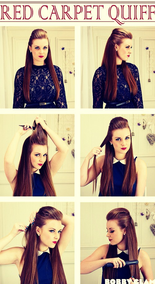 Make a normal quiff and pin extra hair back!