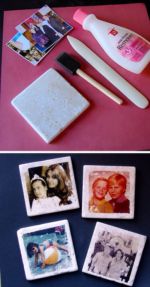 27. Photo Tile Coasters I've never seen this technique before, but I like it! I've always got nail polish on hand, and I have those same tiles left over from our bathroom renovation. I like how the photos don't transfer perfectly, too. It gives them more of a vintage look and feel.