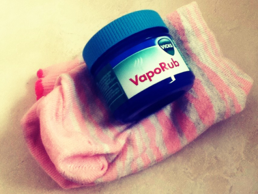 Rub Vicks vapour on their feet and cover with socks before bedtime to cure their cough.