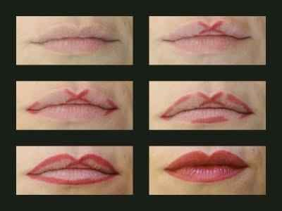 Apply your lipliner like this to get an even Cupid's bow shape.  Cute!!