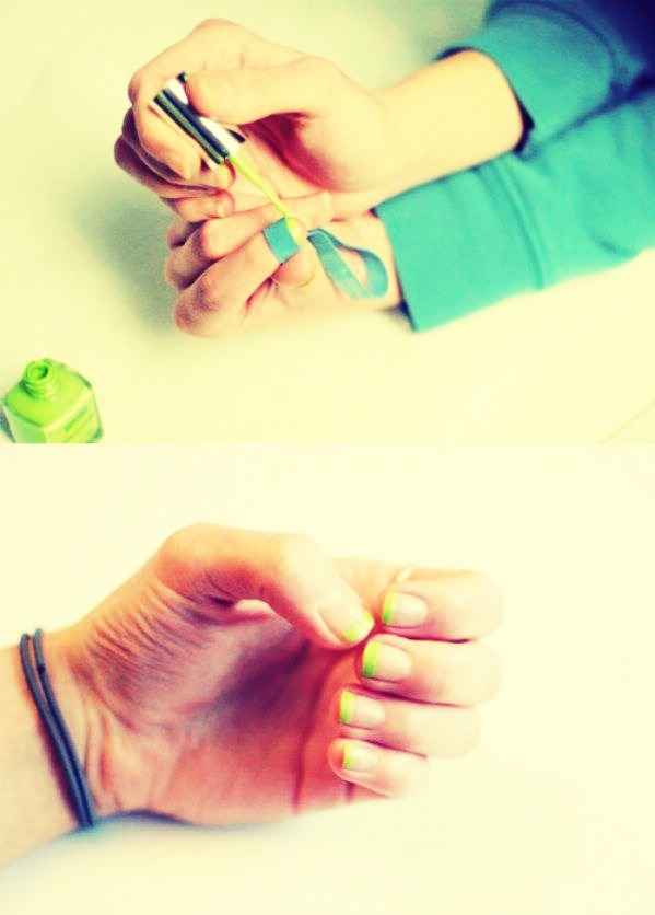 Use a rubber band and colors of your choice to create an easy, quick drying, French manicure. This also works for half moon nails.