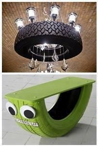 Use an old tire to create a unique chandelier for any room on the house  Cut the tire in half to create a 'sea saw' effect table for the kids