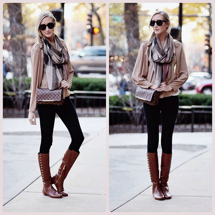 Nude blouse, Checkered scarf, Leggings or skinny jeans, knee high boots and a small clutch. 👡