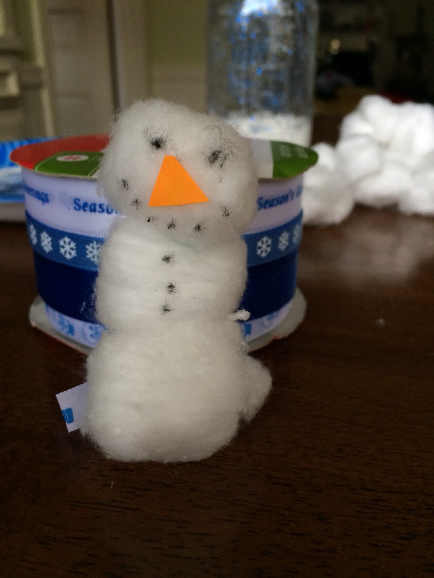 Make a snowman. Mine was really crappy but oh well.