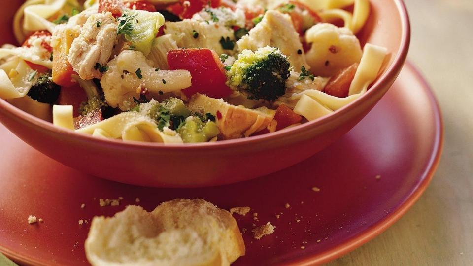 Whip up an easy turkey and veggie topper for pasta in a skillet. Dinner will be ready in minutes.