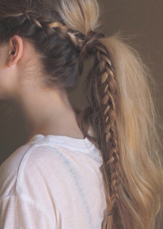 the braided ponytail to achieve this look, French or Dutch braid a piece of hair on the side and pull all of your hair into a ponytail. if you want, wrap a piece of hair around the rubber band and pin into place.