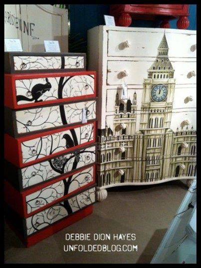 Find a poster big enough & mod podge to front of dresser!