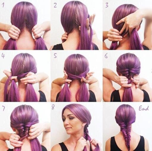 FISH TAIL BRAID 1) Split hair into two sections 2) Take a small piece from the inside of one side 3) Cross over to the other side 4) Keep going all the way down and secure with a hair tie Tip: Smaller pieces and pulling tighter for more defined fish tail braid