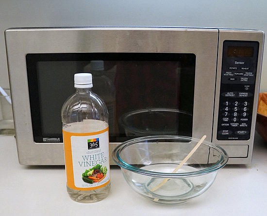 When your microwave is dirty from food that you heated, you must use a big bucket full of vinegar (or use hot water like what I use) and dip it with a kitchen washcloth.