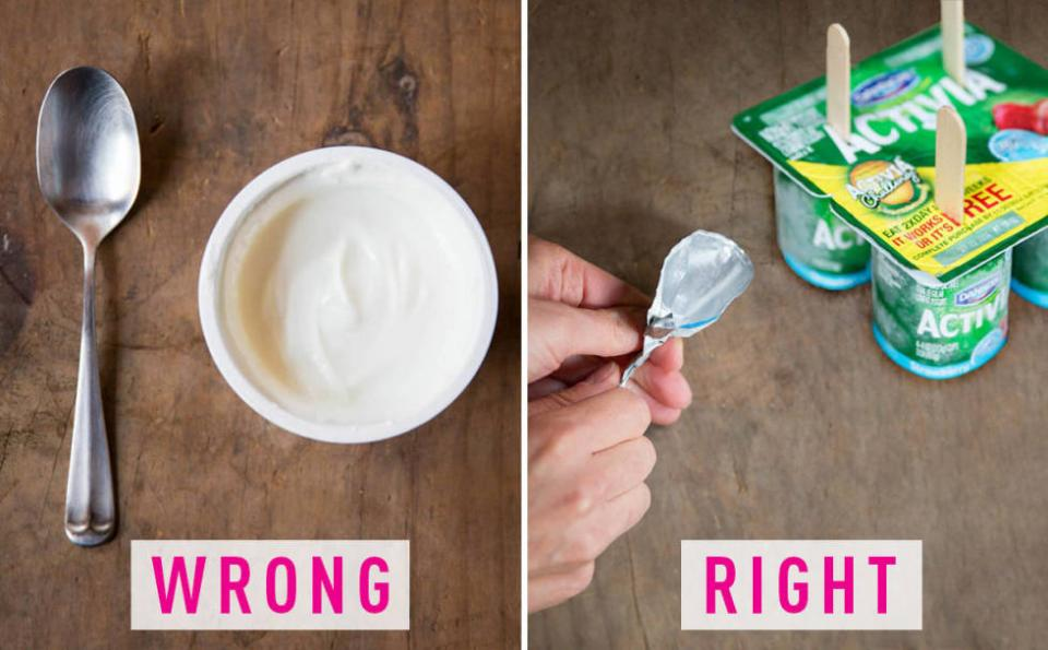 9. You eat yogurt with a spoon. Stick a popsicle stick through the lid and freeze to create a yogurt pop you can eat with one hand. Or, if your yogurt has a foil lid, upcycle and use it to scoop the yogurt.