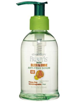 "Garnier Fructis Sleek & Shine Anti-Frizz Serum, $6 ""Keeps frizz out, provides smooth hair all day"""