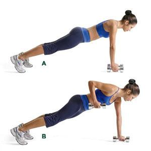 4: Renegade Dumbbell Rows