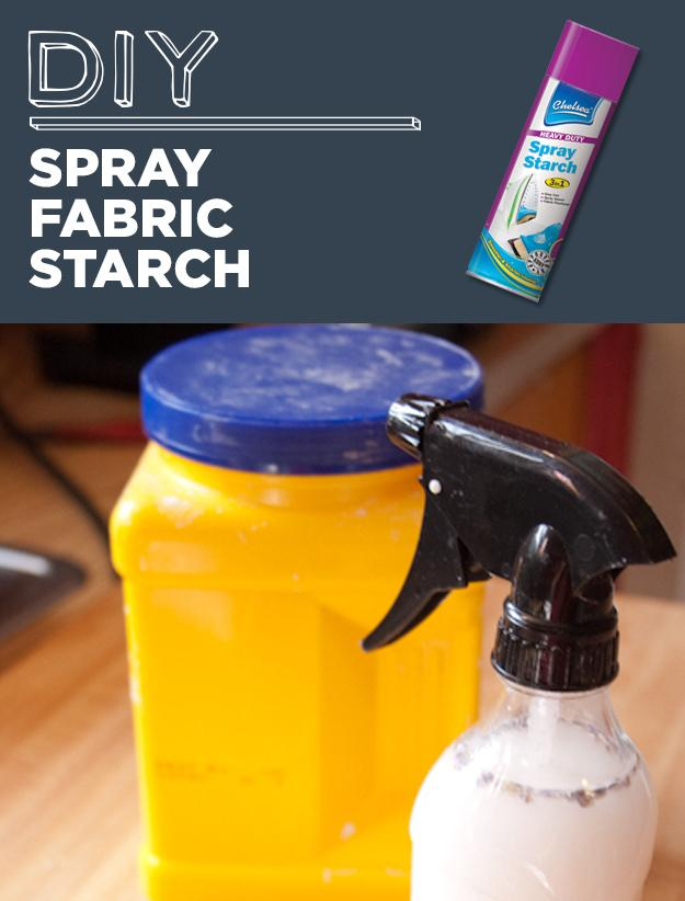 21. DIY Spray Fabric Starch  In a spray bottle, mix together 1 cup water and 2 teaspoons of cornstarch.
