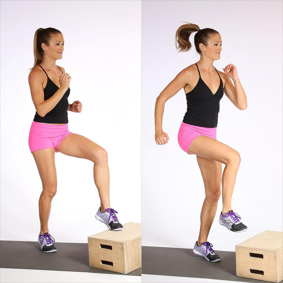 Box step: Find a step, stool, or box (or aim toes at an imaginary step) and lightly tap your left toes to the box, then jump to switch feet, bringing the right toes up