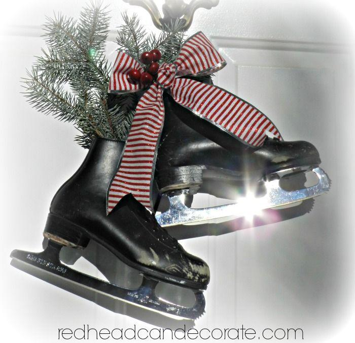 Add some ice skates to a wreath, adorn with a bow/ garland and hang outside. Instant, adorable door decor.