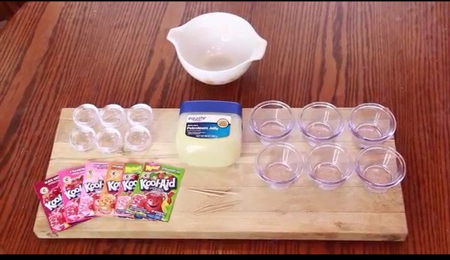 You need Vaseline, large mixing bowl, smaller mixing bowls, small containers for storage & kool-aid