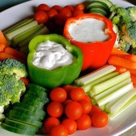 Use cleaned out bell peppers to hold your dips. Love it!