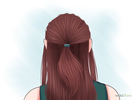 Gather the top layer and leave out two strands. Pull the top layer back and away from your face as if you were making a ponytail, but leave out a strand on either side. Secure it with a hair tie.