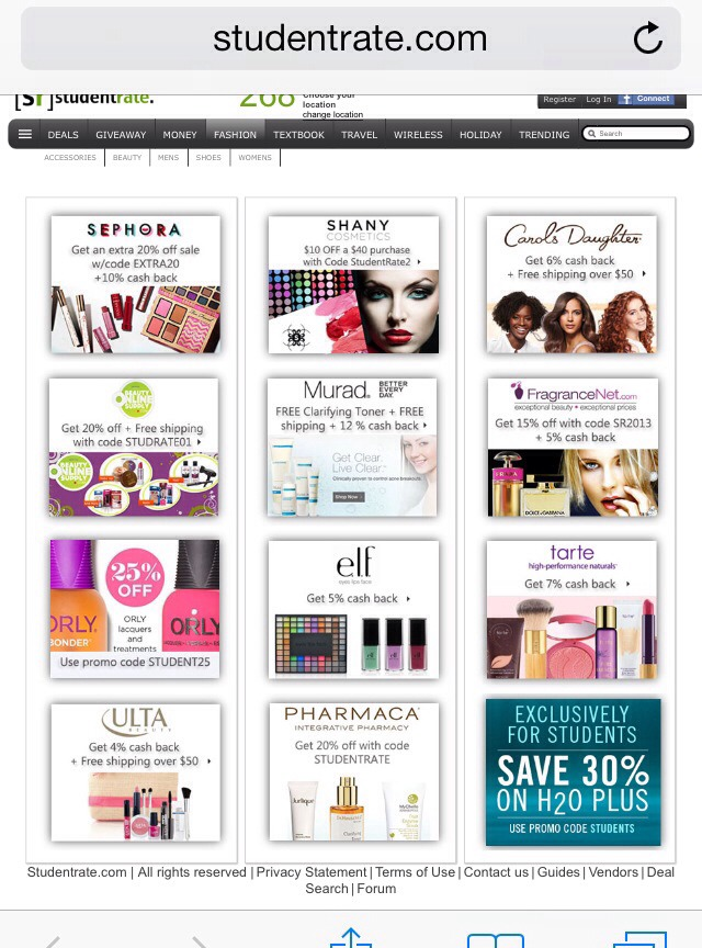 Student discounts on cosmetics...