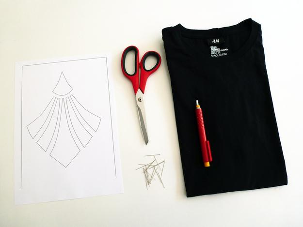 What you'll need: a basic T-shirt (the one shown is a men's shirt), fabric chalk, this template, pins, and scissors.