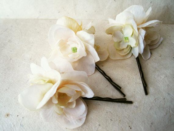 Ivory Silk Flower Hair Pins