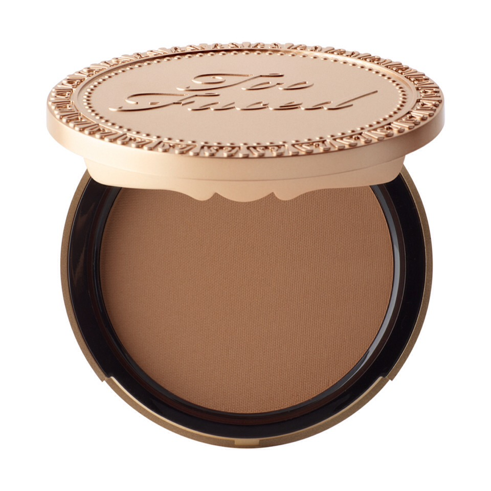 "My favorite bronzer by FAR is Chocolate Soleil by Too Faced. It doesn't have shimmer like many bronzers, so it looks more natural. In addition to that, it's also made of cocoa powder, so it smells like chocolate. Can you say ""mmm""?"