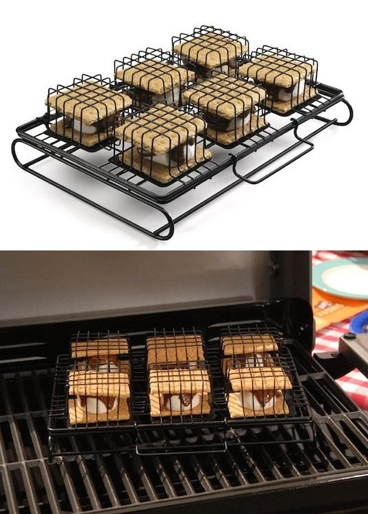 8. BBQ S'mores Maker Because everything tastes better on the grill! You can also use this BBQ S'mores Maker in the oven or even toaster oven. Now you don't have to wait to have a campfire to enjoy the ooey gooey mess. http://www.amazon.com/gp/product/B005EVJWC2/