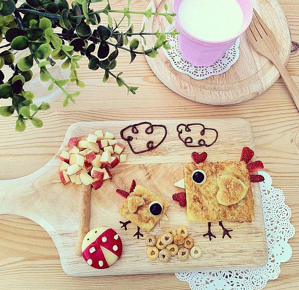 Eat Like a Bird Cinnamon toast, apples, cereal, and Babybel cheese are all you need to create this light and fun snack.