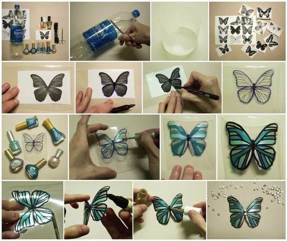 By using a stencil or picture you may already have start by tracing the butterfly onto the cut piece of plastic then simply paint them with your choice of fingernail polish cut it out when dry you can also add sequins or crystals ..Click on pic for better view