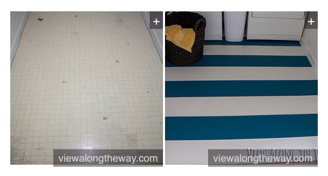 25. Paint your unsightly vinyl or laminate floors. Vinyl or laminate flooring can make any kitchen or bathroom look dirty and cheap. You'll be surprised at how well a floor paint job will actually hold up. Get the directions here. http://www.viewalongtheway.com/2013/01/how-to-paint-vinyl-or-laminate