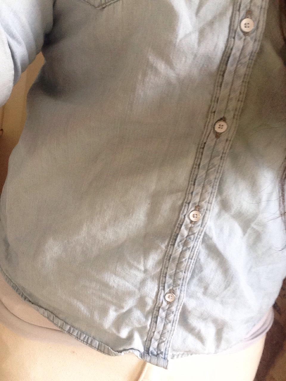 I chose to wear a light wash denim 3/4 sleeve shirt.