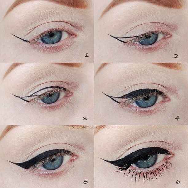 When going in to a dramatic winged look draw the outline of the shape, and then fill it in😋