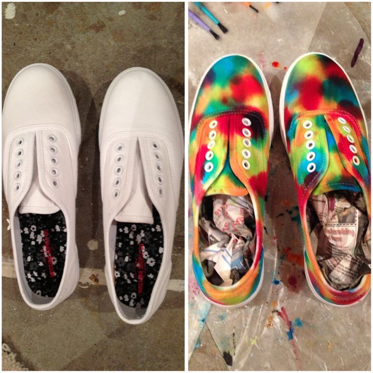 3. Tie Dye Shoes Take sharpies and make various dots nearly running into each other, then using rubbing alcohol, blend the colors into each other.