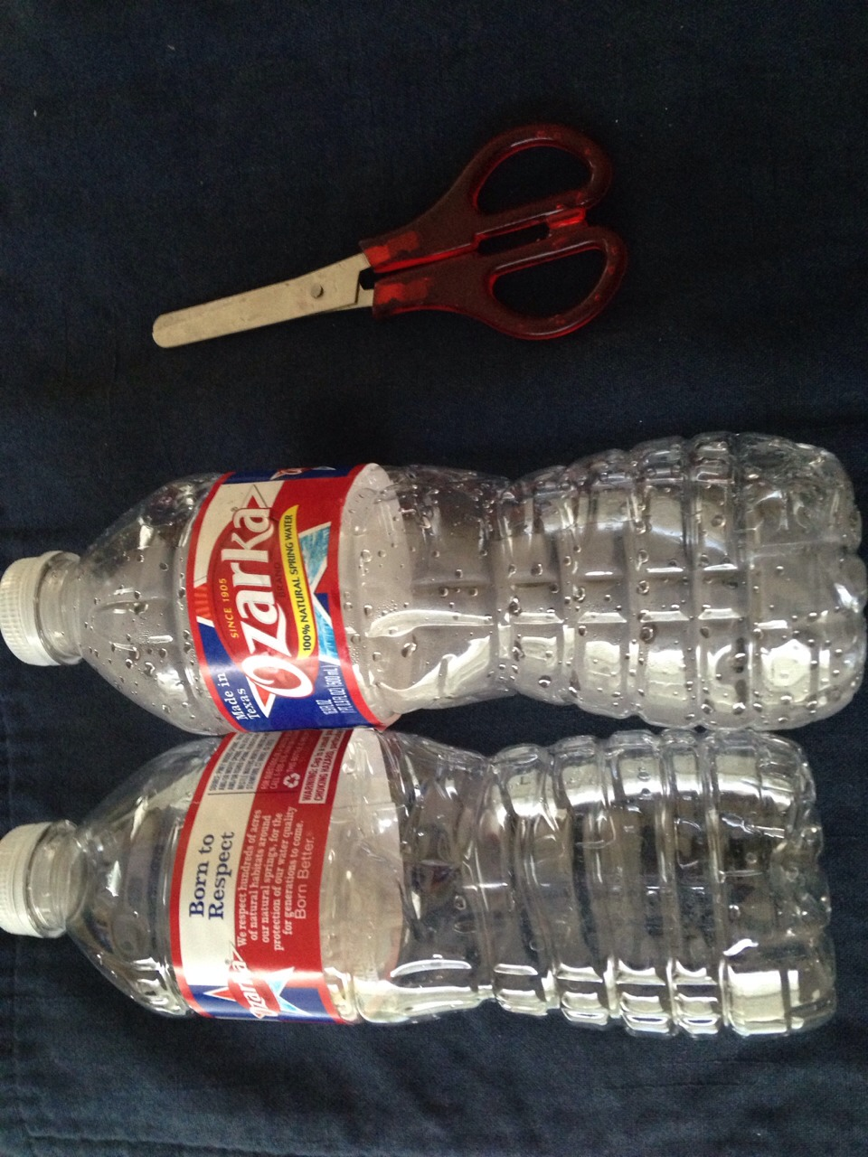 You will need: • 2 water bottles with the caps on • scissors