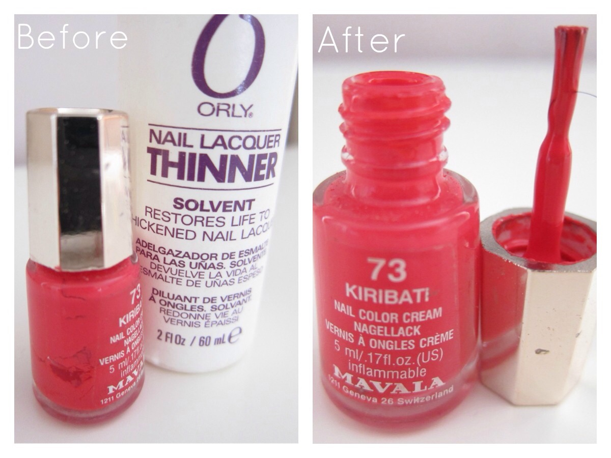 Add a few drops of nail thinner/nail polish remover 💅 to your nail color bottle 😊