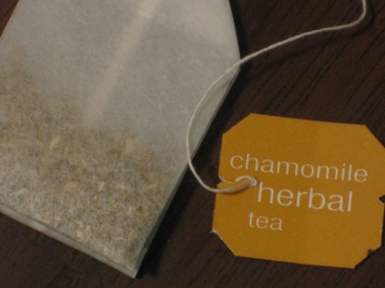 Add one chamomile tea bag to a cup of hot, but not boiling water