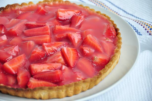 Double Strawberry Pie  http://www.food.com/recipe/strawberry-strawberry-pie-from-the-really-good-food-cook-book-14569