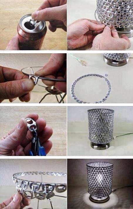 A fun little recycling craft project out of soda can pull tabs. This is truly a unique idea and i bet it throws an awesome light pattern at night.