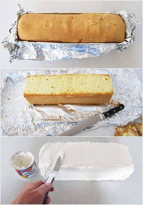 Once it's baked. Level the top and add some icing.