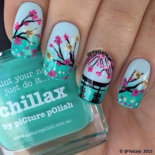 Beautiful cherry blossom nail art.