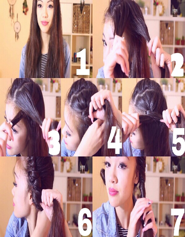 1. Part hair into 2 (damp) 2/3. Take 2 small strands of one side & twist. 4. With the strand of hair held in hand closest to face, pull another strand of hair from the back to join it and twist. 5/6. Repeat. 7. Once you've got all the hair in hand twist super tight until you reach the end.