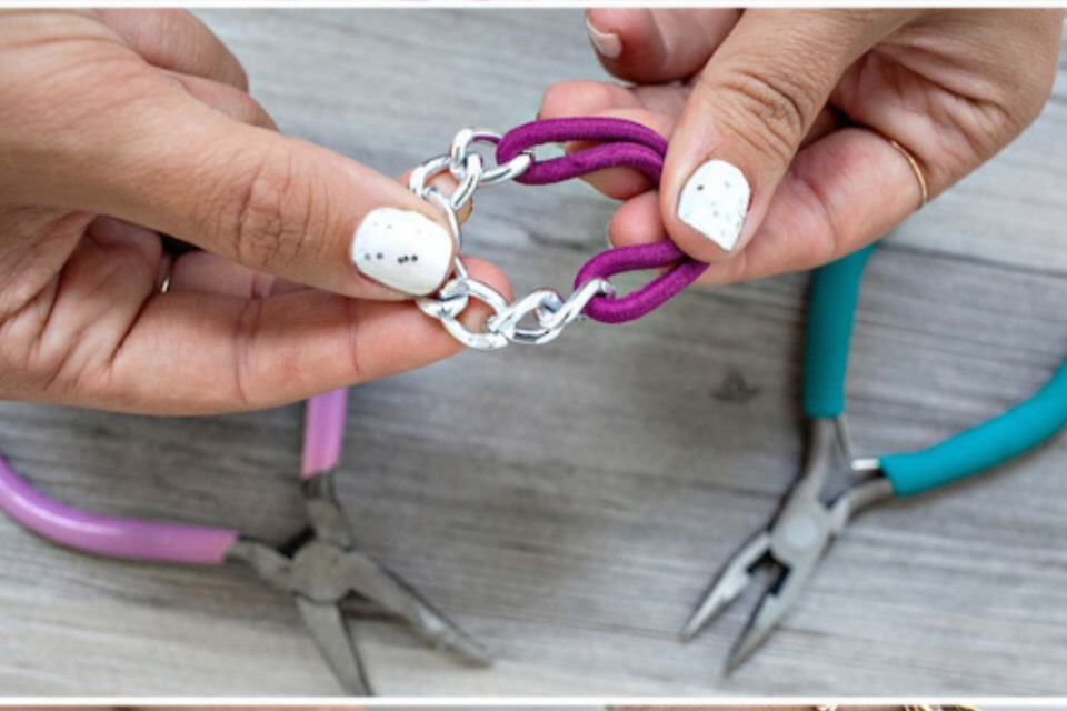 Using a small piece of chain open the 1st and last link. Connect your hair tie and close link. Fold hair tie in half and wear around your wrist !!! Super cute & easy !!!